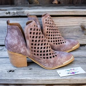 Shoes - Mi.iM Vera Cutout Perforated Cowboy Ankle Booties